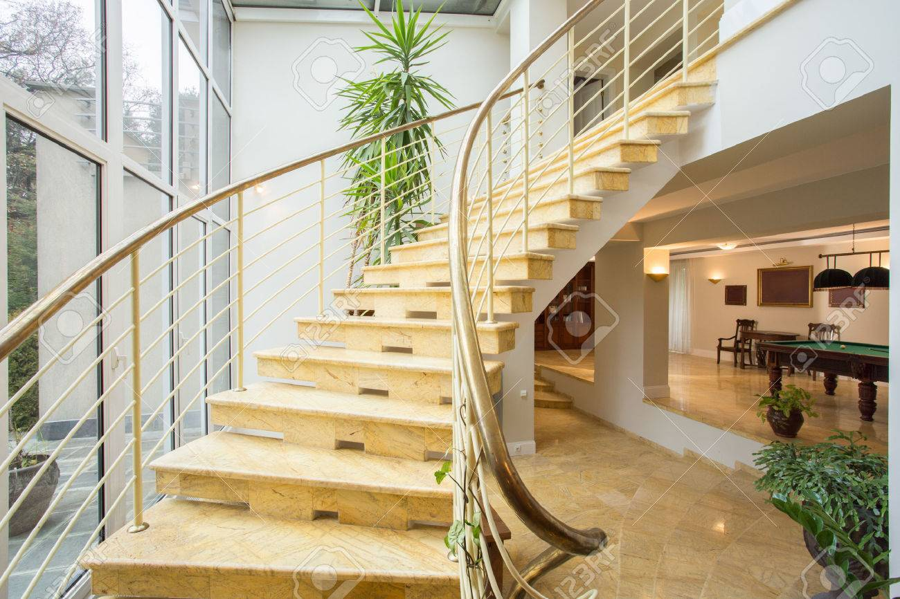 Nice View Of Marble Stairs Inside Expensive House Stock Photo   36387772