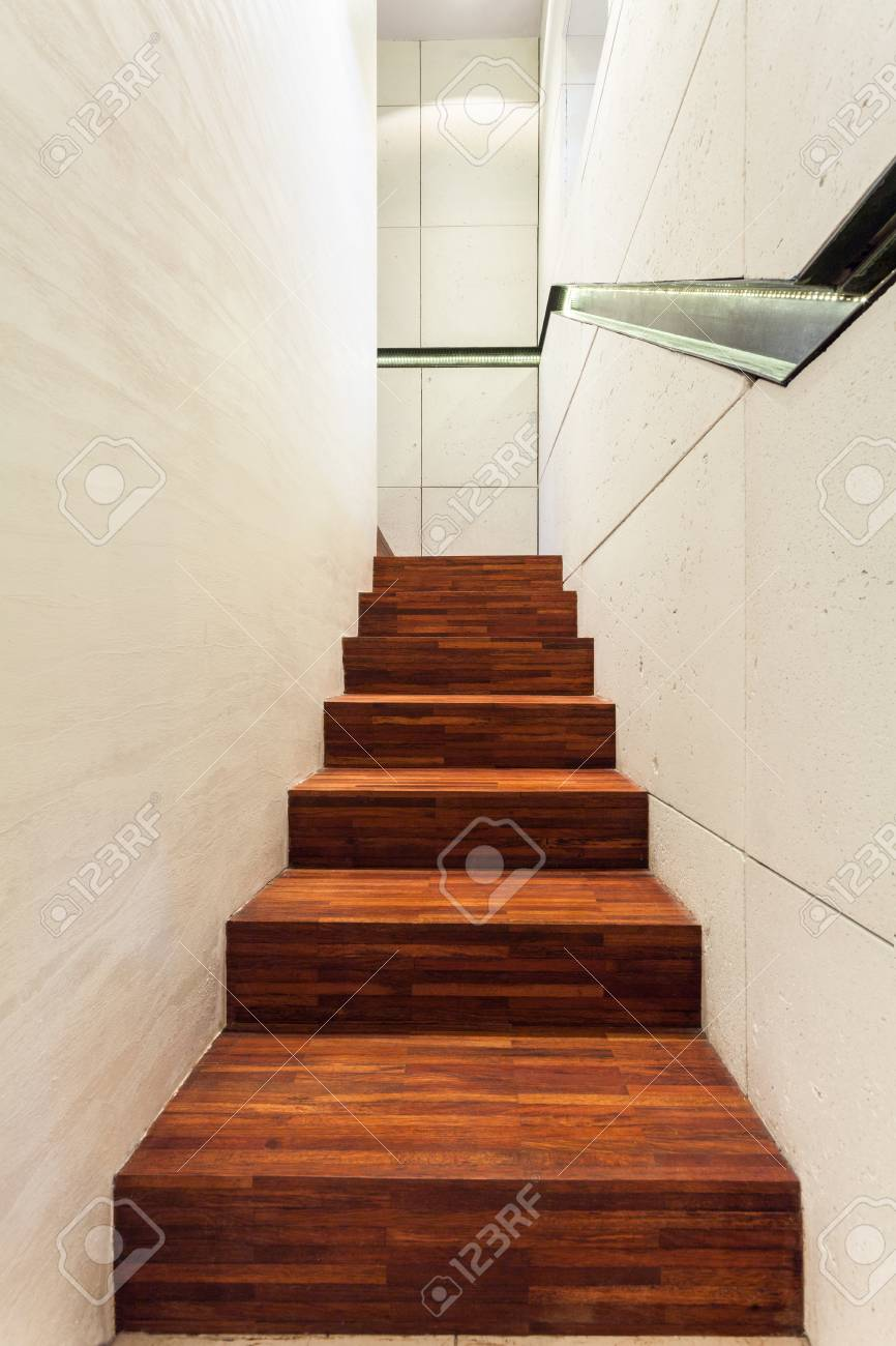 View Of Wooden Staircase In Modern House Stock Photo Picture And