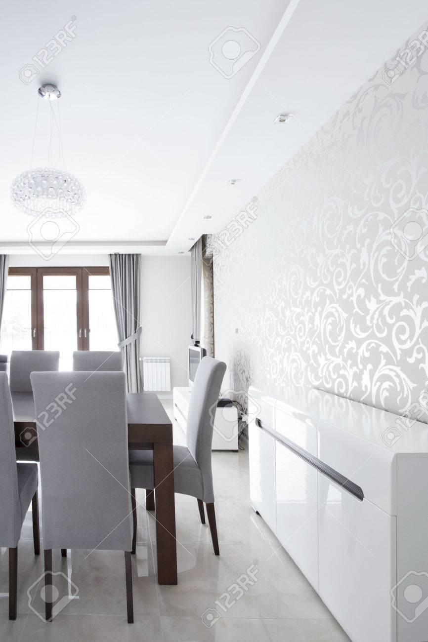 Silver Wallpaper In Elegant Dining Room Interior