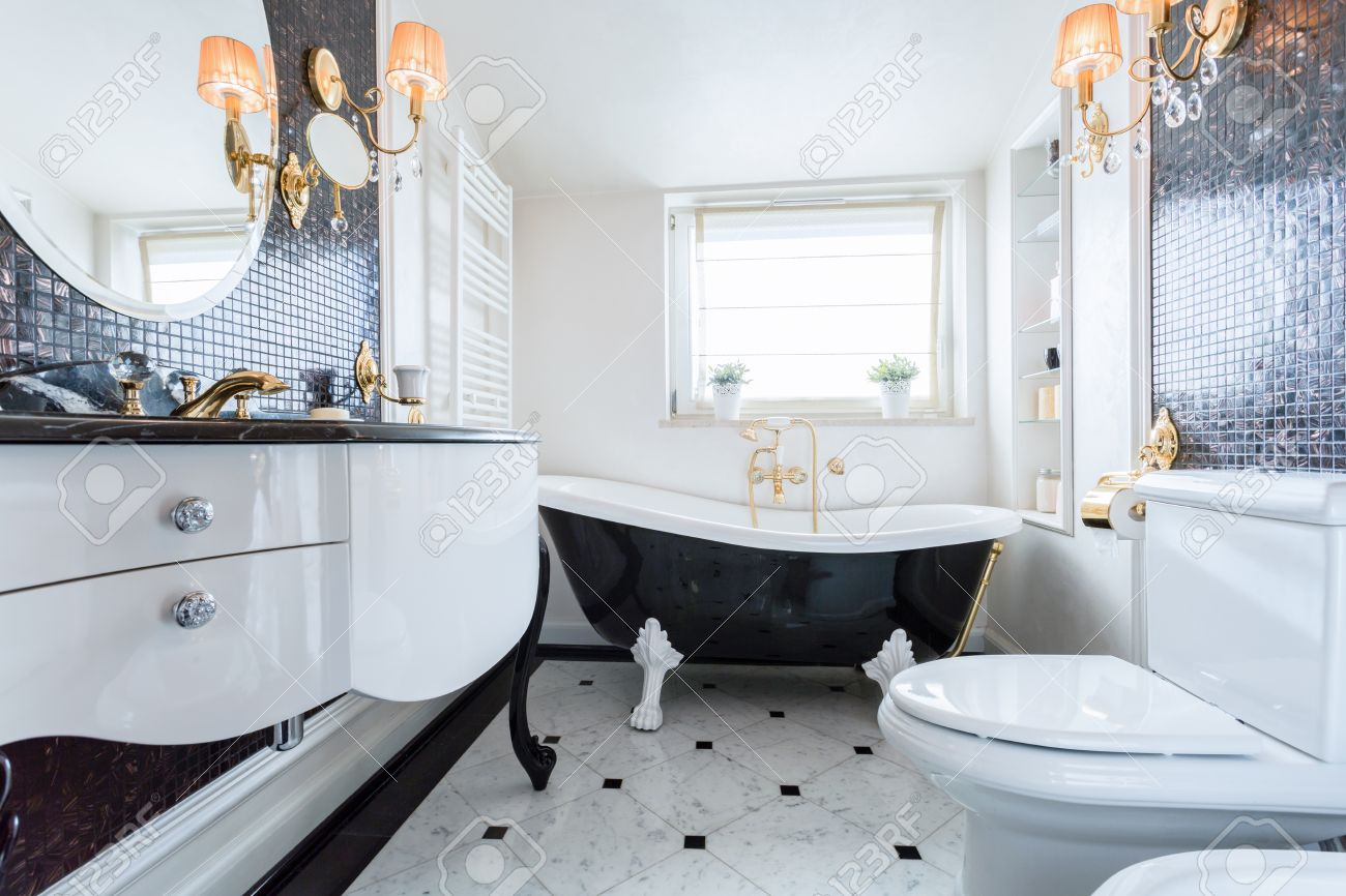 Exclusive Black And White Bathroom In Luxury Mansion Stock Photo 37346654