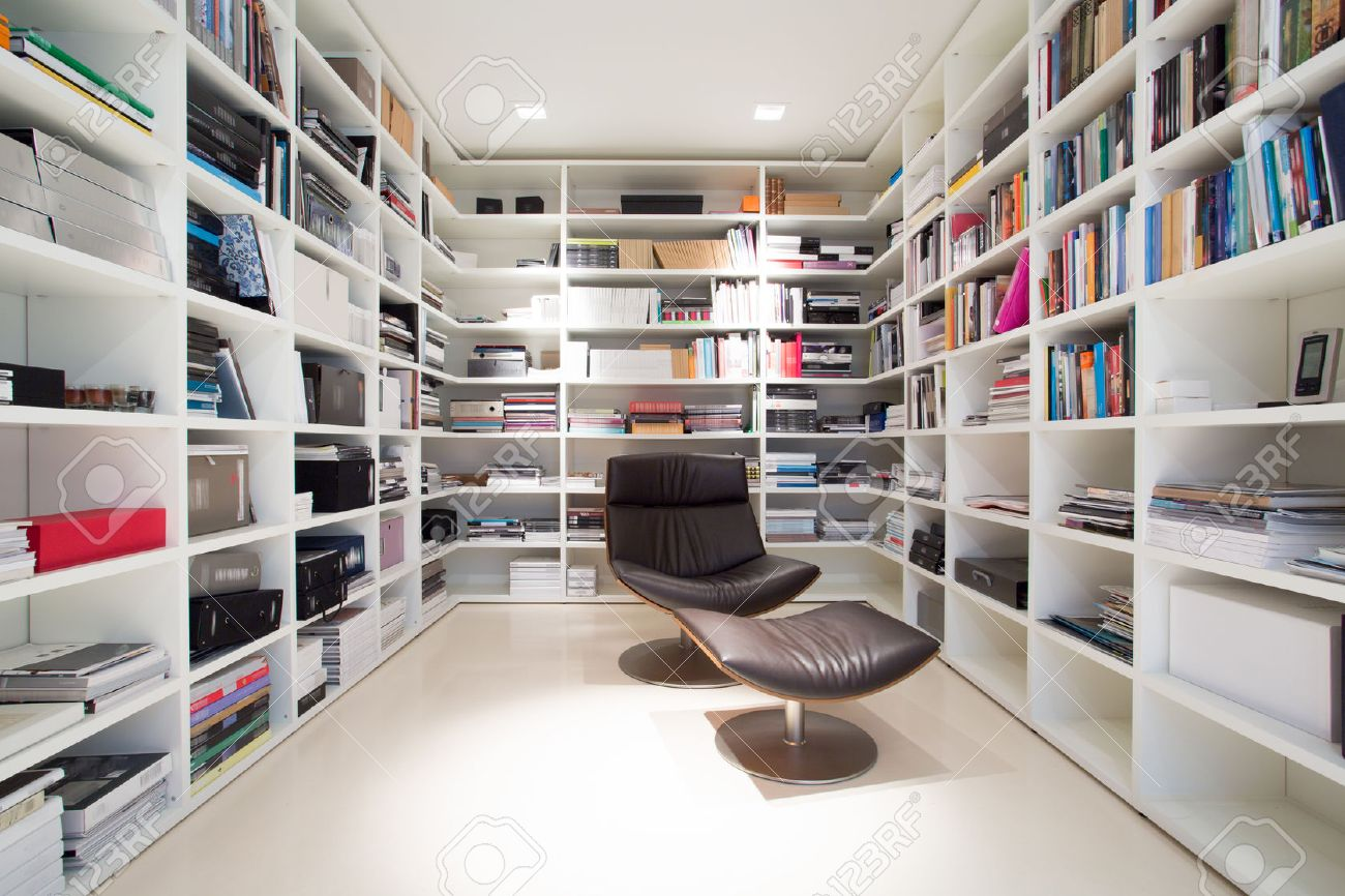 Interior Of Private Library At Home Stock Photo