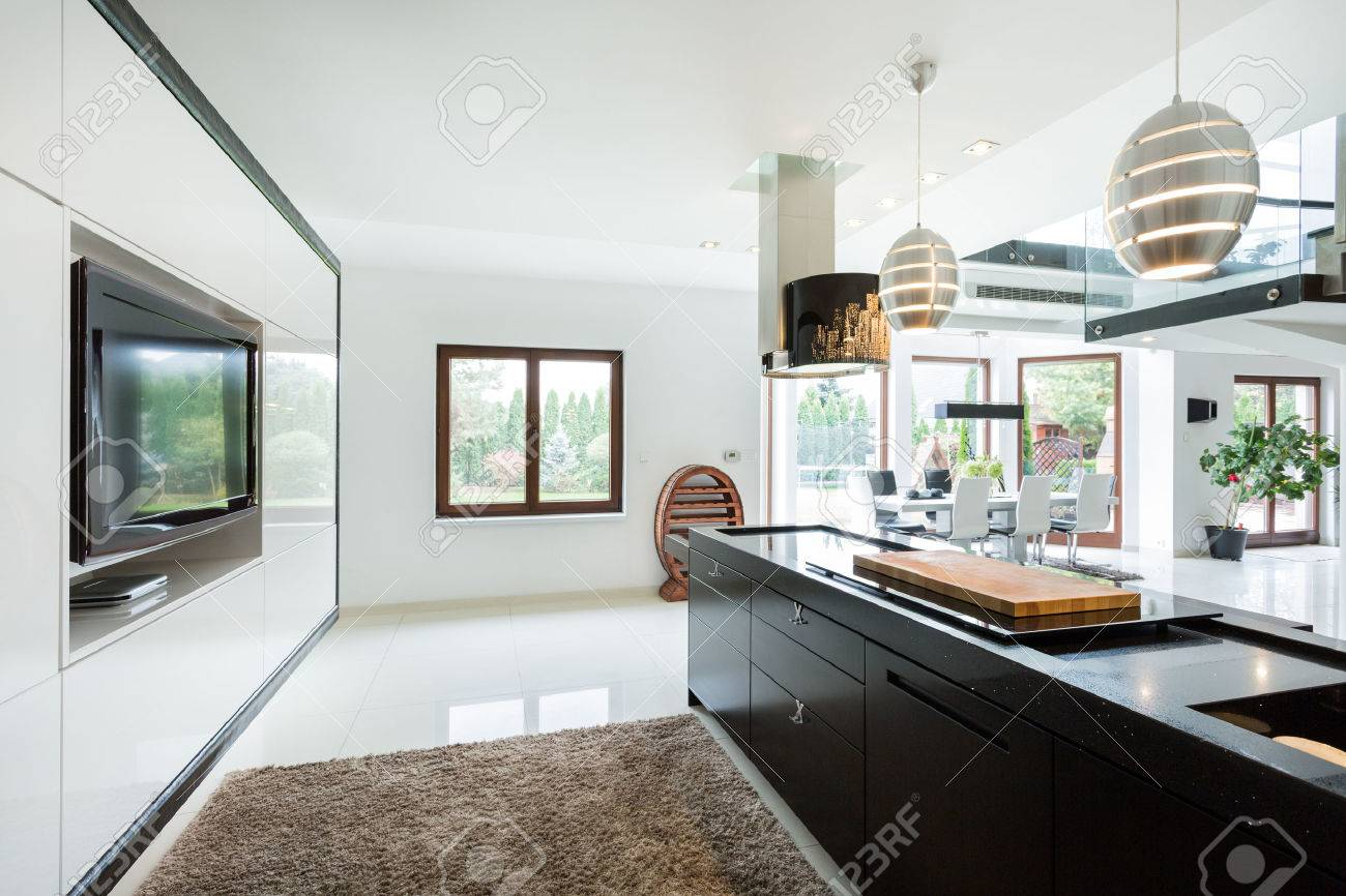 Modern Elegant Kitchen With Home Movie Theater Stock Photo Picture And Royalty Free Image Image 37790892