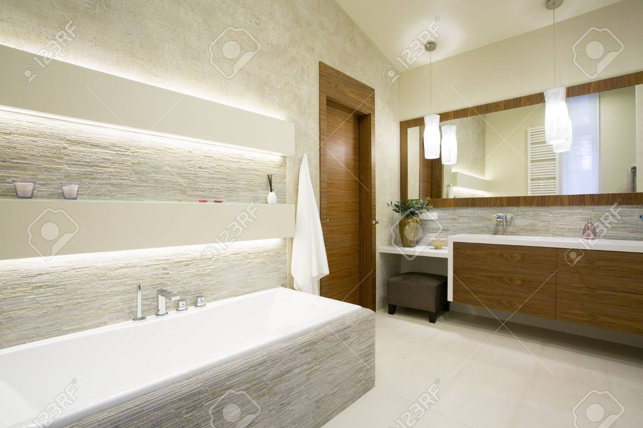 Bath And Washbasin In Modern Bathroom Interior Stock Photo, Picture ...