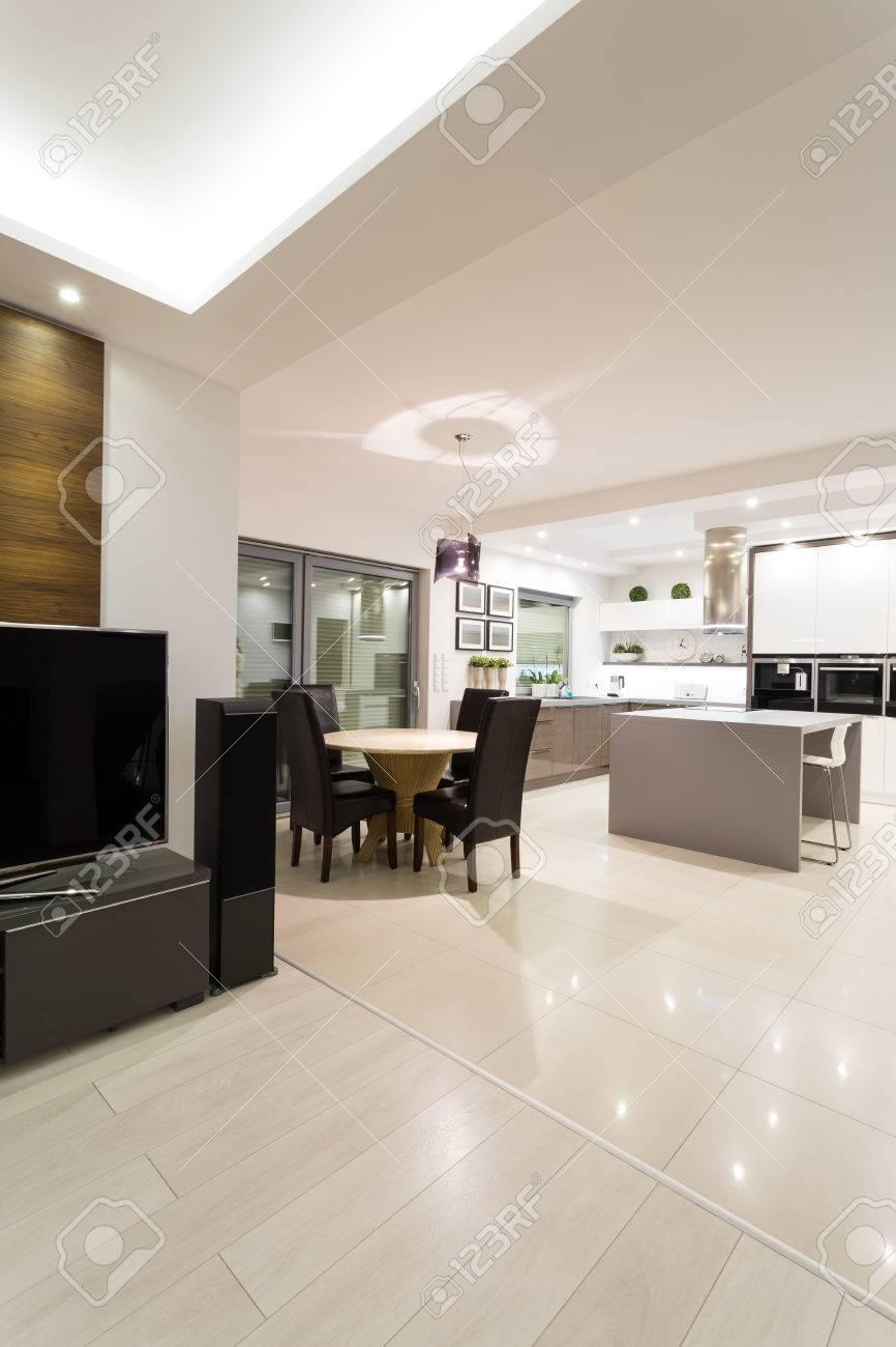 Luxe intérieur lumineux maison individuelle moderne