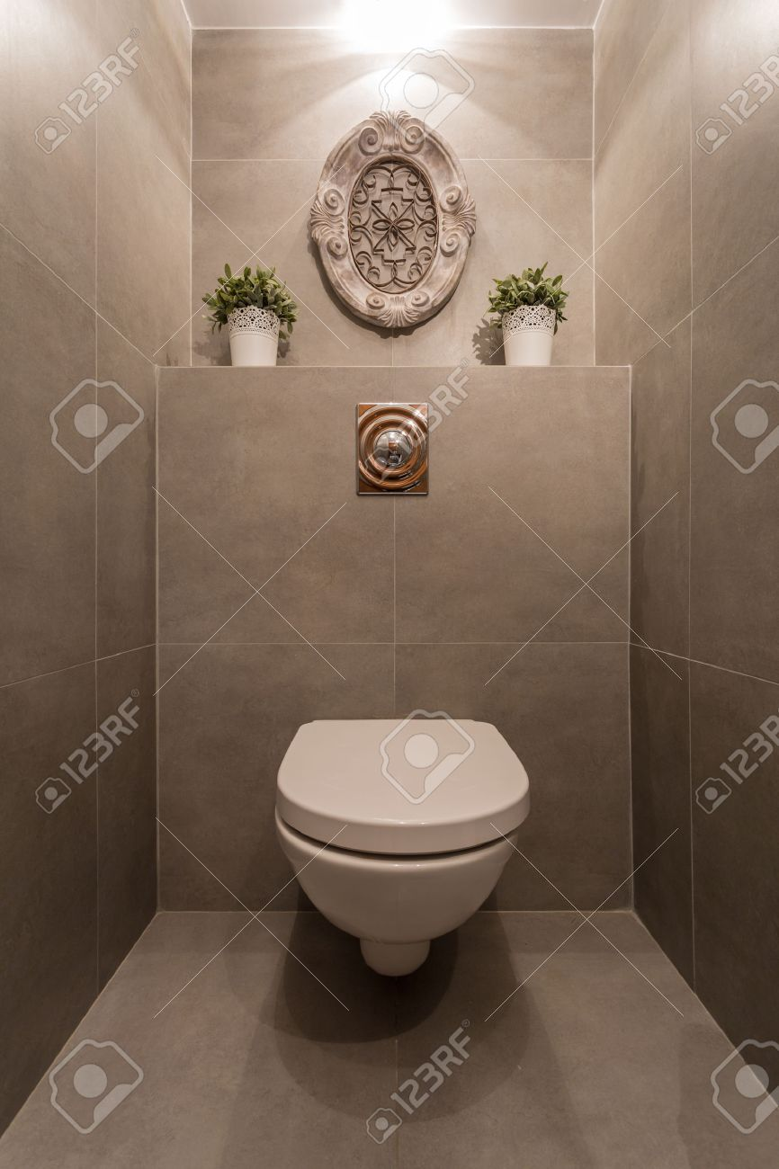 Image Of New Modern Toilet With Marble Tiles Stock Photo, Picture ...