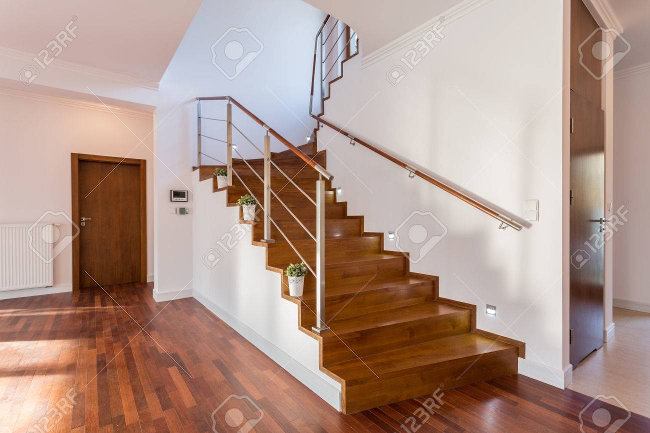 Superb Image Of Wooden Staircase In Front Hall