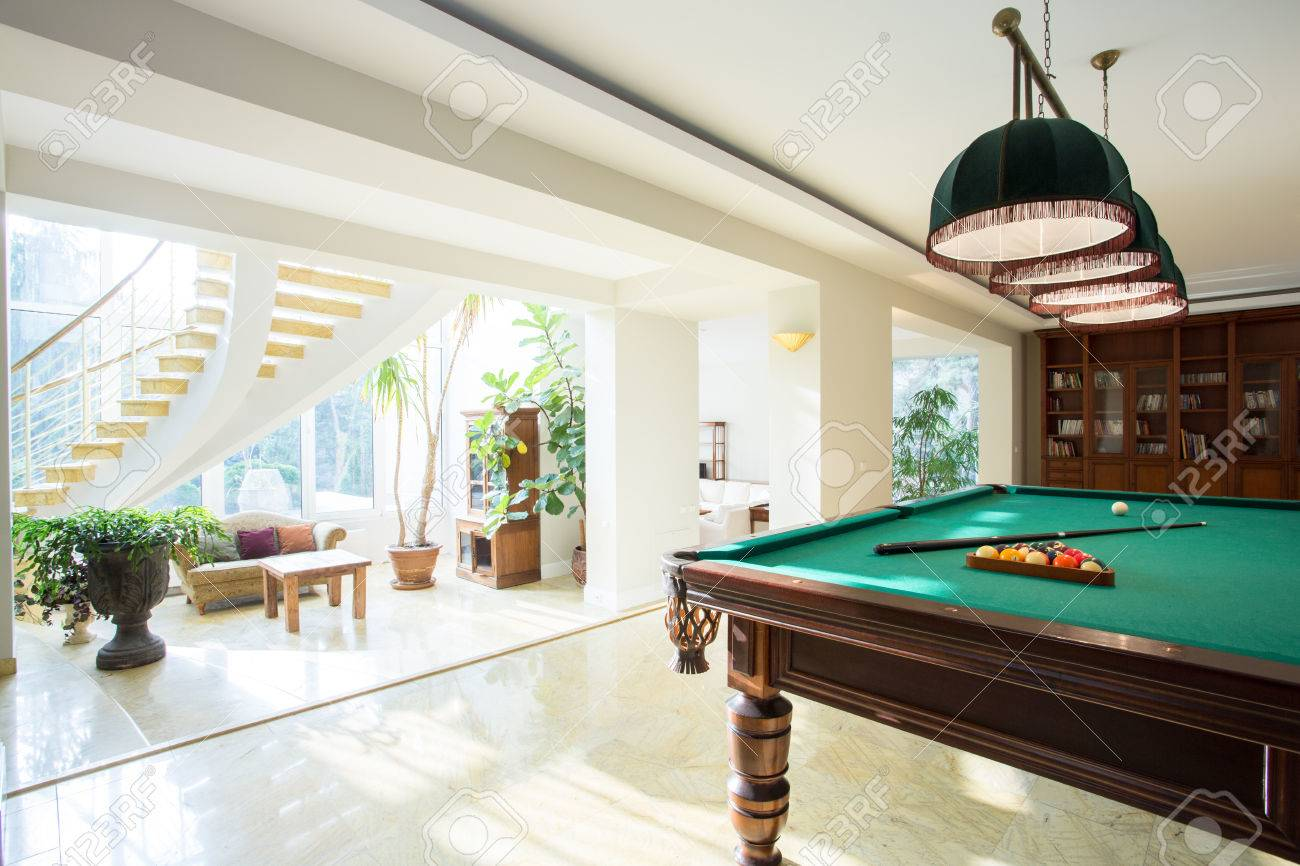 Big Pool Table In Spacious Living Room Stock Photo, Picture And ...