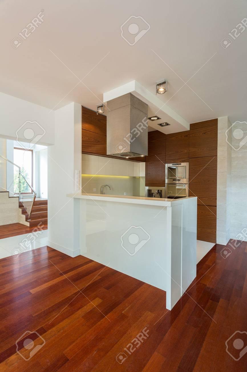 Kleine Moderne Küche Mit Theke In Großes Wohnzimmer Lizenzfreie ...