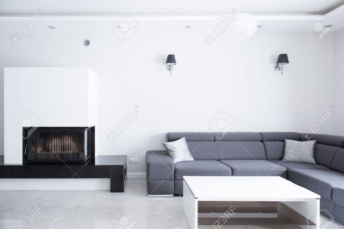 Elegant Big Lounge With Grey Comfortable Corner Sofa Stock Photo   39054748