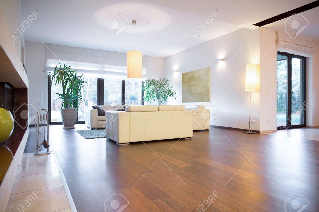 elegante luminoso soggiorno con parquet in legno foto royalty free ... - Soggiorno Luminoso
