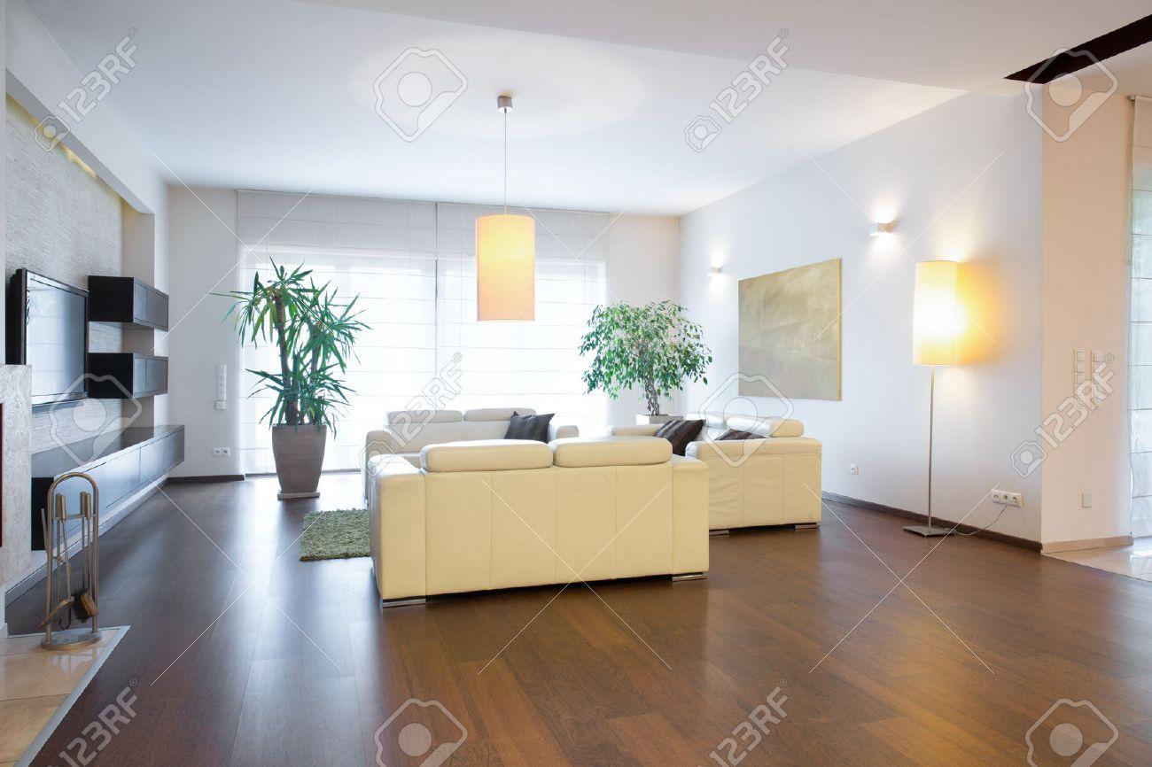 Zeitgenössisches Wohnzimmer Mit Eiche Boden Lizenzfreie Fotos