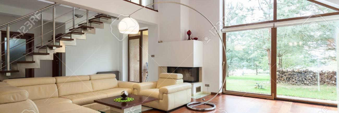 Panorama Of Stylish Living Room With Big Window Stock Photo   39650616