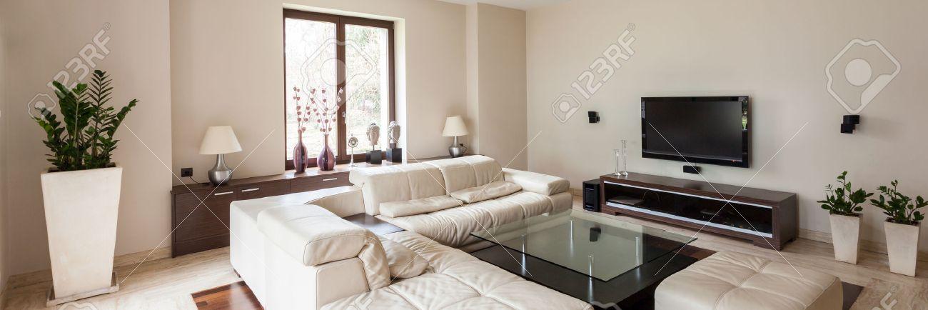 Vista Panorámica Del Interior De La Sala De Estar Moderna Y ...