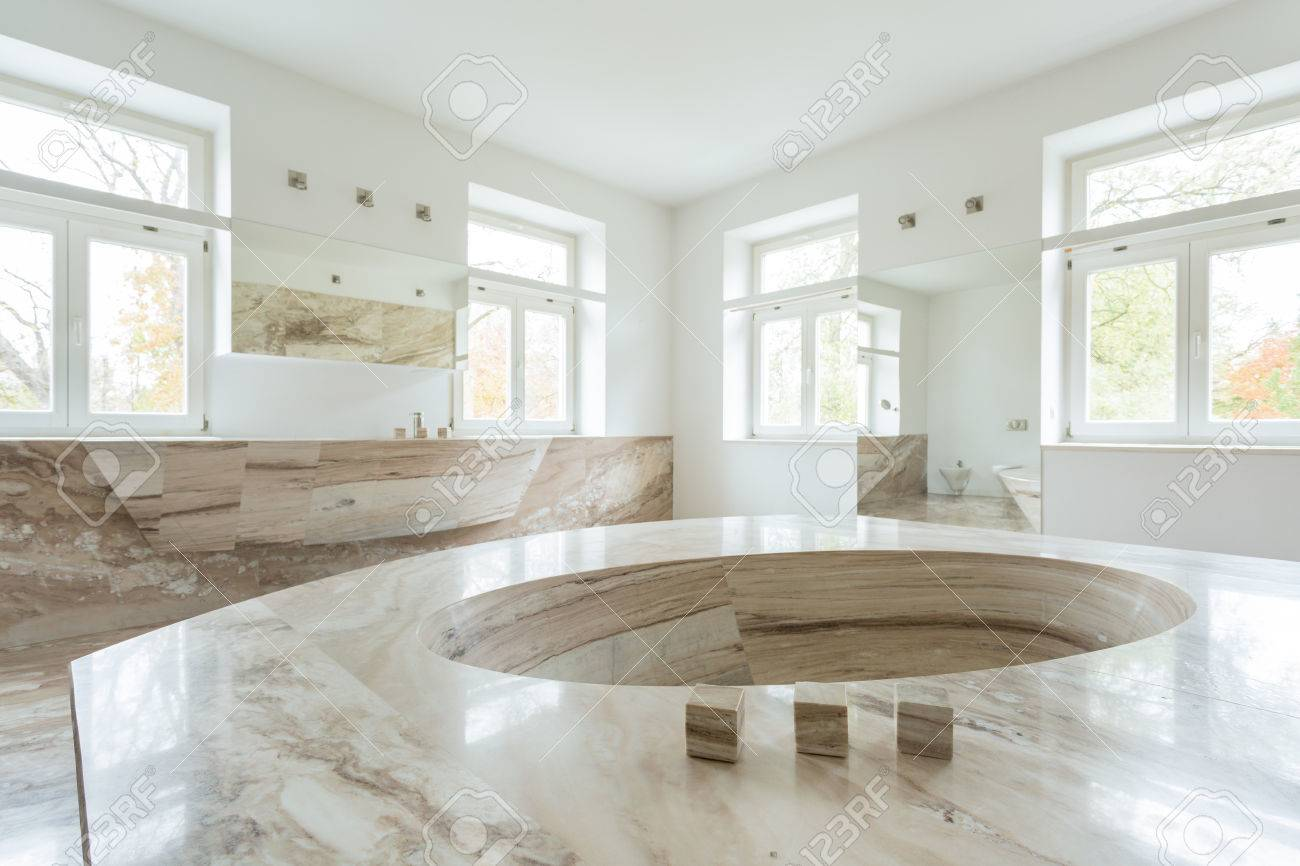Interior Of Luxury Bathroom In Marble Design Stock Photo, Picture ...