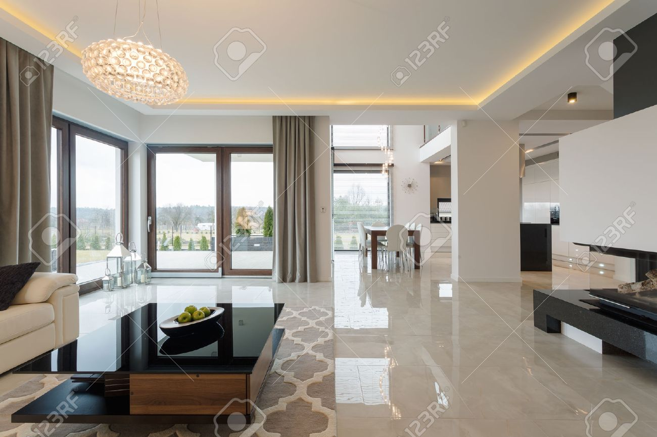 Marble Floor: Photo Of Spacious Expensive Living Room With Shining Marble  Floor Stock Photo