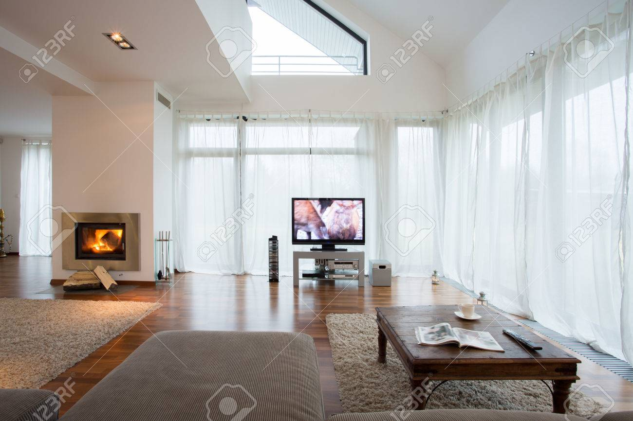 Big Exclusive Living Room With Home Movie Theater Stock Photo ...