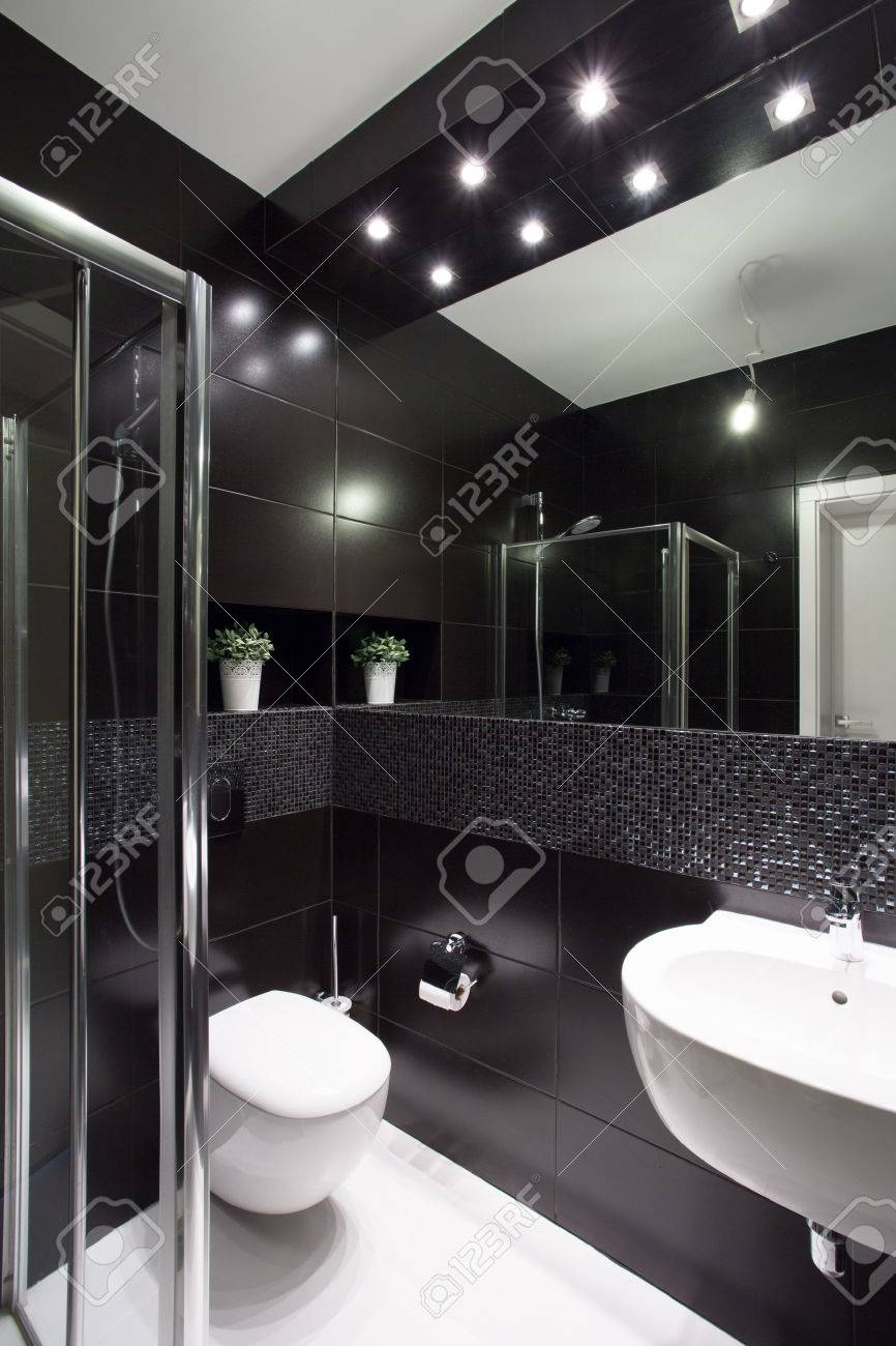 modern design of small bathroom with black tiles stock photo rh 123rf com small black and white tile bathroom Small Bathroom Floor Tile Designs