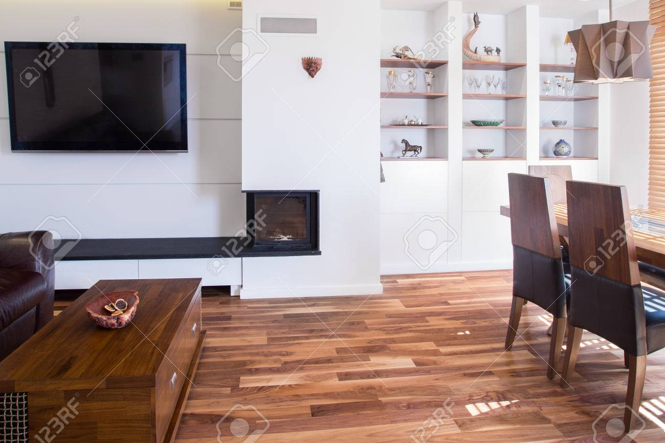 Big Wooden Living Room With Dining Table Stock Photo, Picture And ...