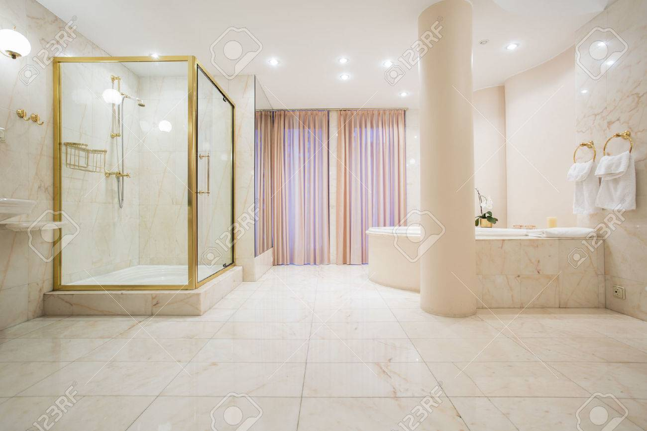 Spacious Bathroom In Pastel Color In Luxury Mansion Stock Photo   41251410