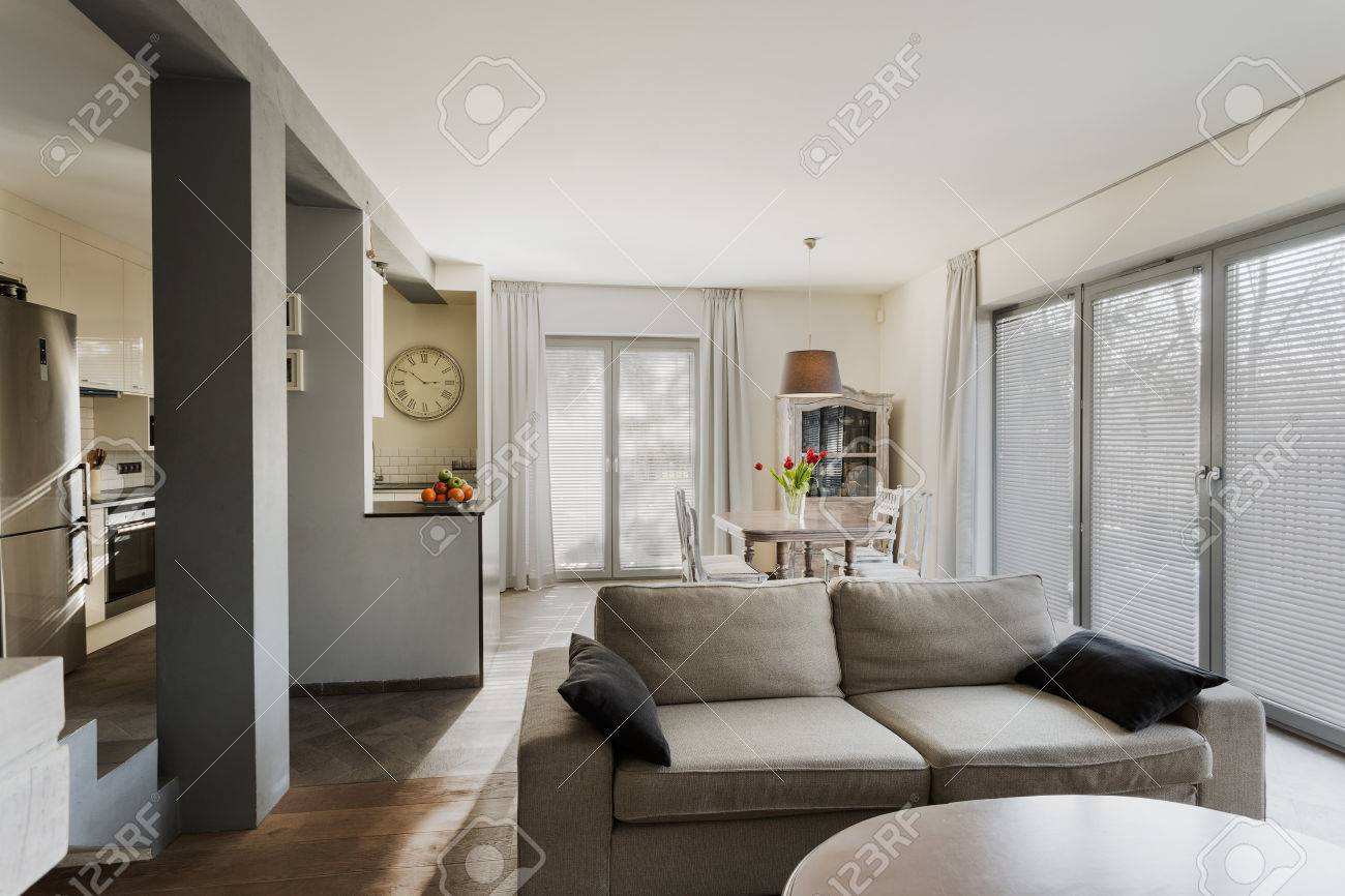 Small Stylish Lounge Connected With Dining Hall Stock Photo, Picture ...