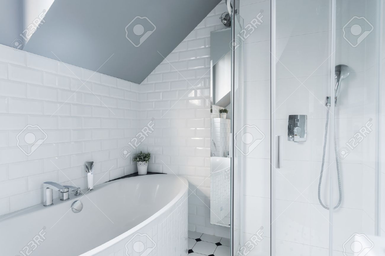 Exclusive White Bathroom With Bath And Shower Stock Photo, Picture ...