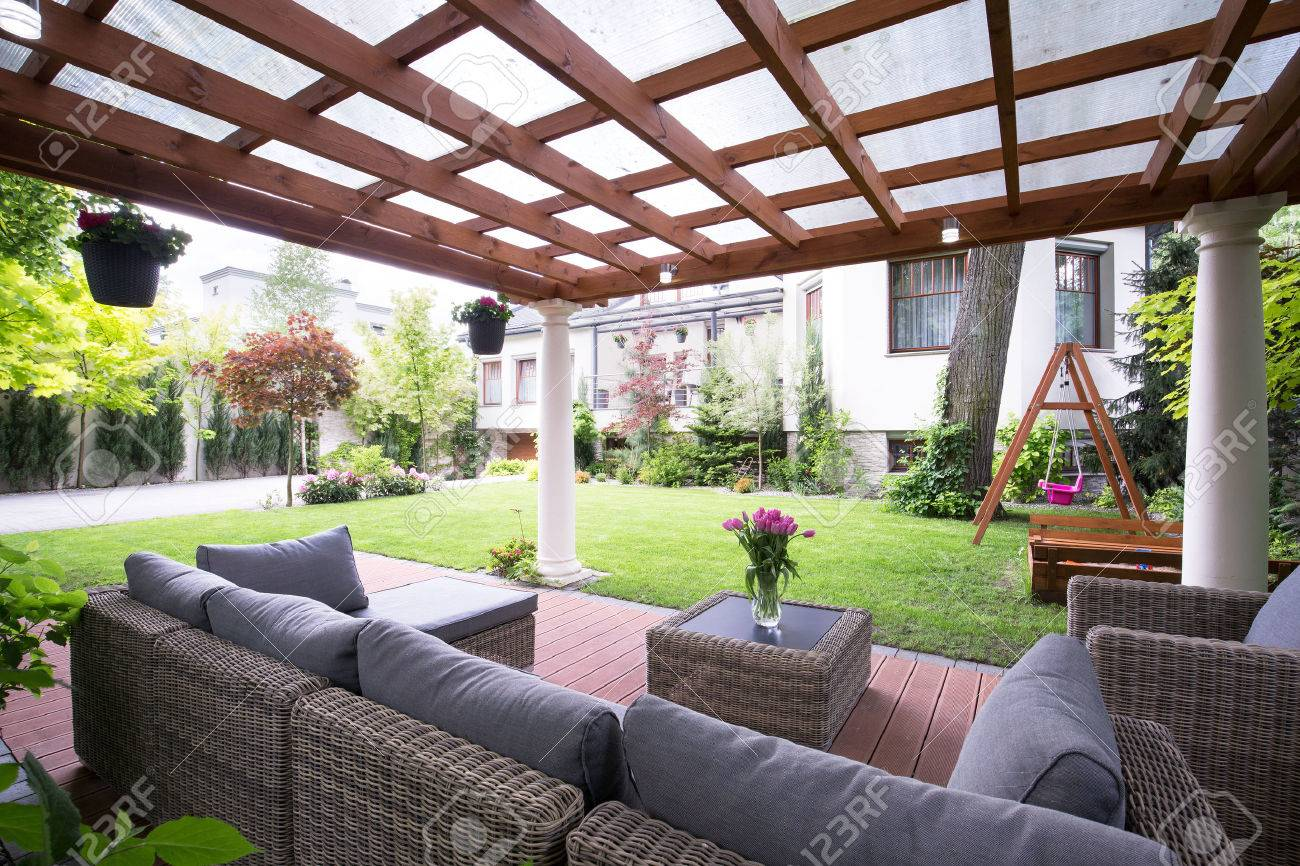 Designed modern arbour with comfortable garden furniture Stock Photo    41610902. Designed Modern Arbour With Comfortable Garden Furniture Stock