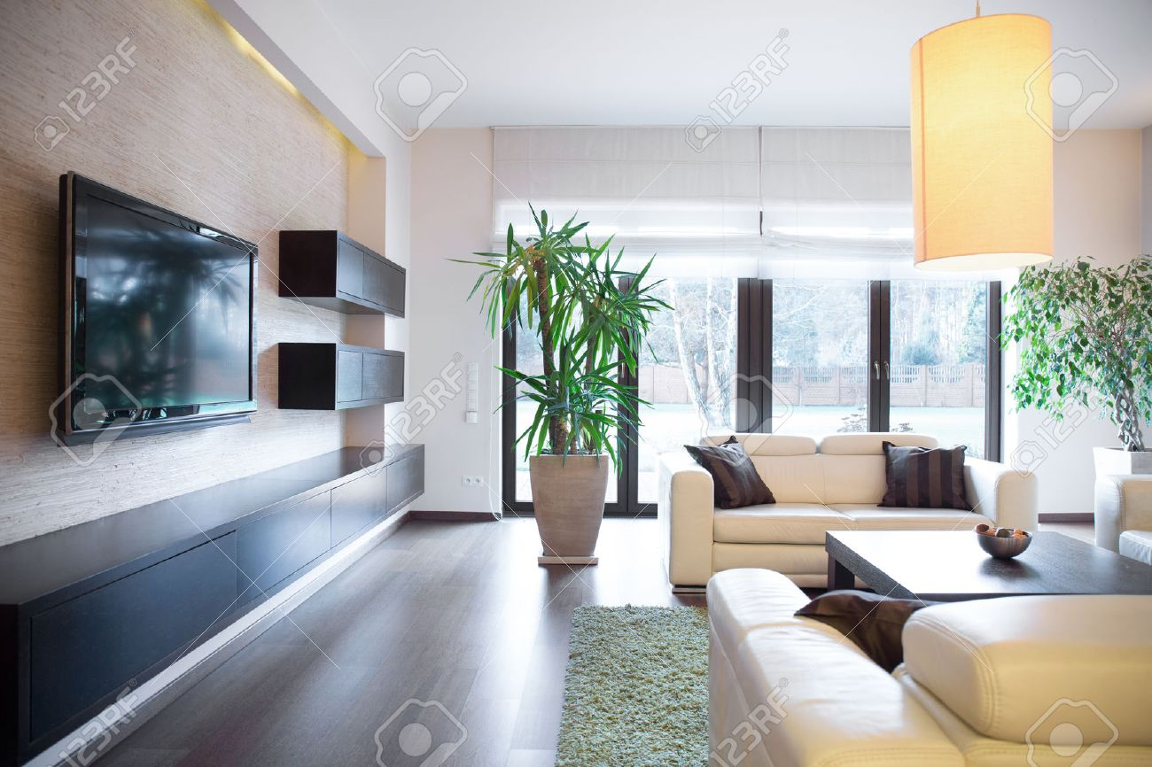 Plasma Tv On The Wall In Drawing Room Stock Photo Picture And  # Meuble Pour Television Plasma