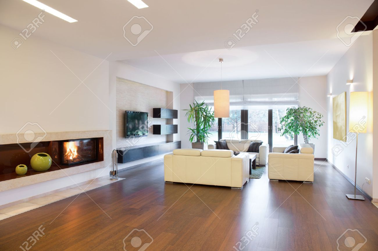 Cozy Spacious Living Room In Luxury House Stock Photo Picture And