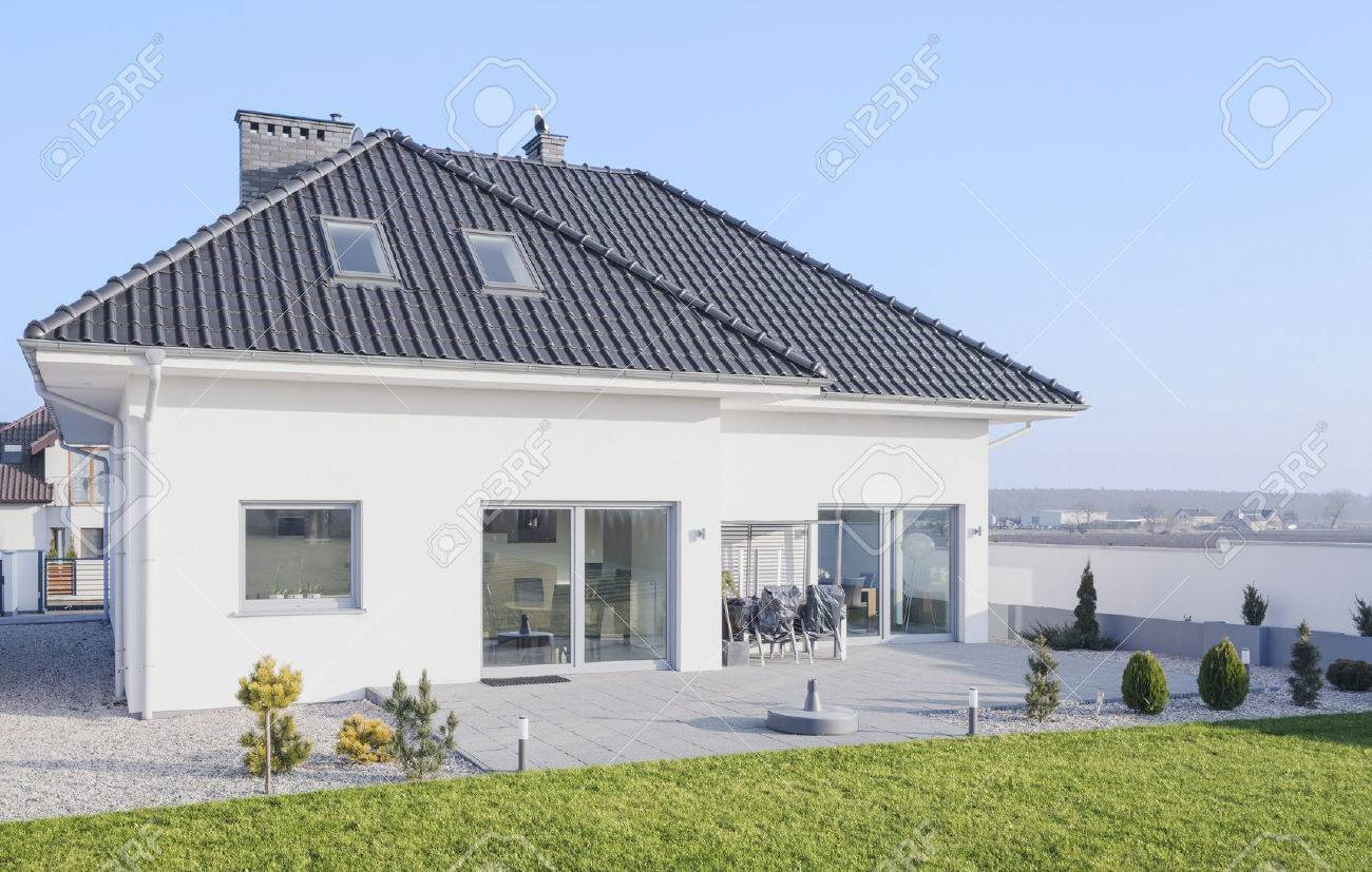 White Modern Bungalow Designed In Scandinavian Style Stock Photo ...