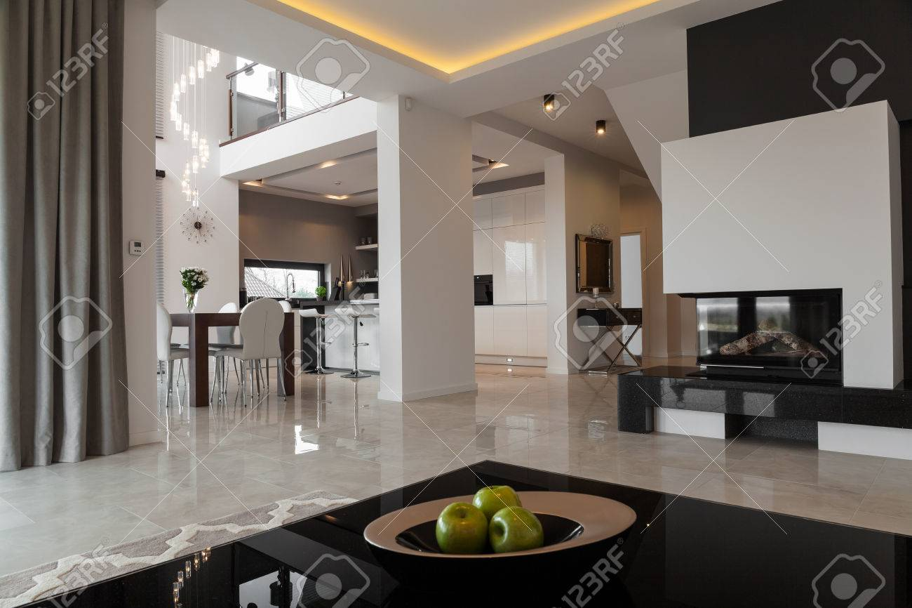 Interior Of Exclusive Apartment In Modern Style Stock Photo, Picture ...