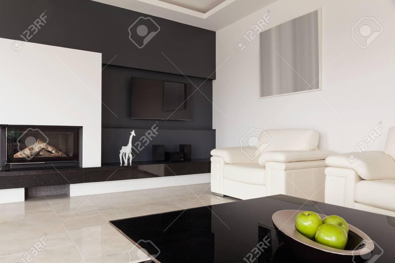 Moderne Schwarz Weiß Wohnzimmer Design Standard Bild   41889814