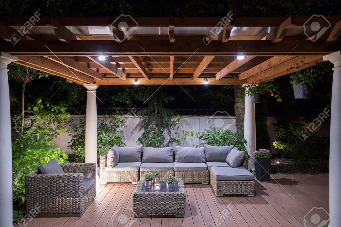 garden furniture  Picture of arbour with comfortable garden furniture. Garden Furniture Stock Photos   Pictures  Royalty Free Garden