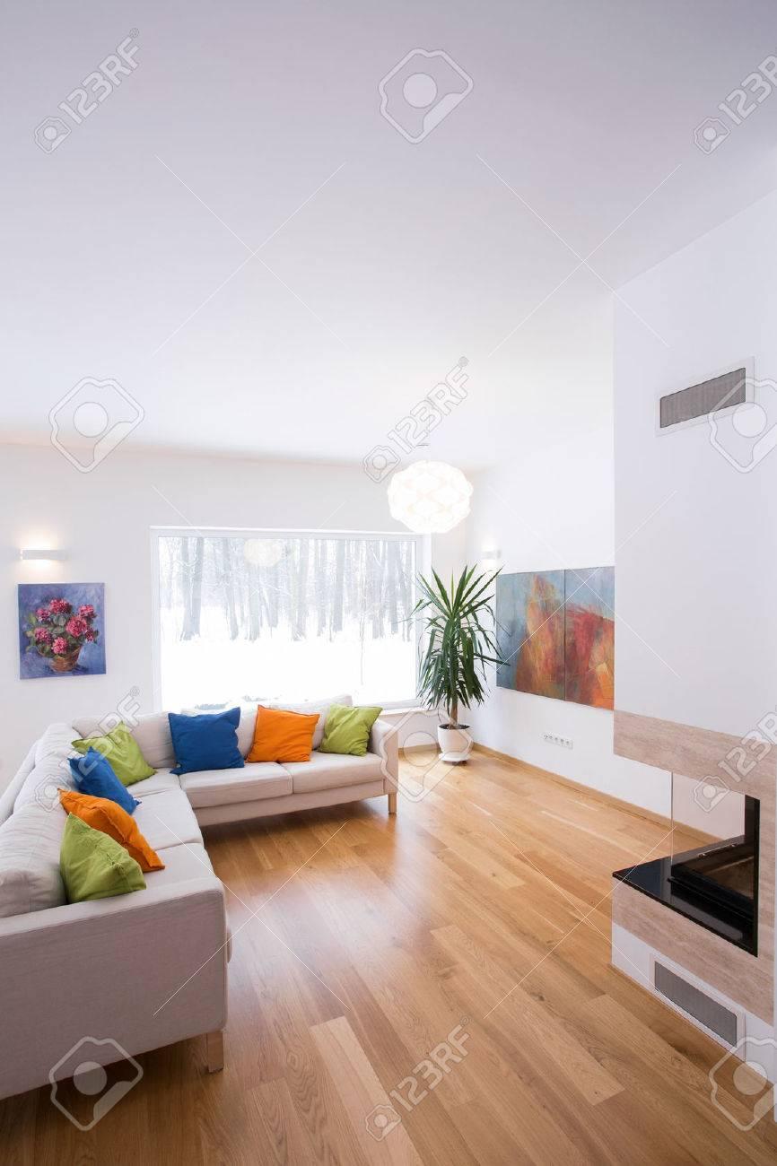 Lumineux salon intérieur avec des détails de couleur