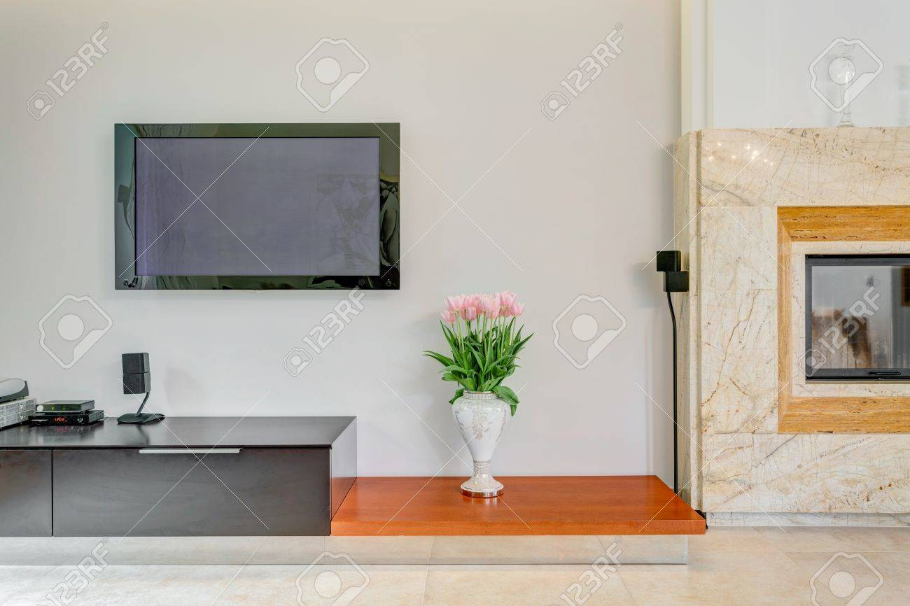Plasma TV On The Wall In Living Room Stock Photo, Picture And ...