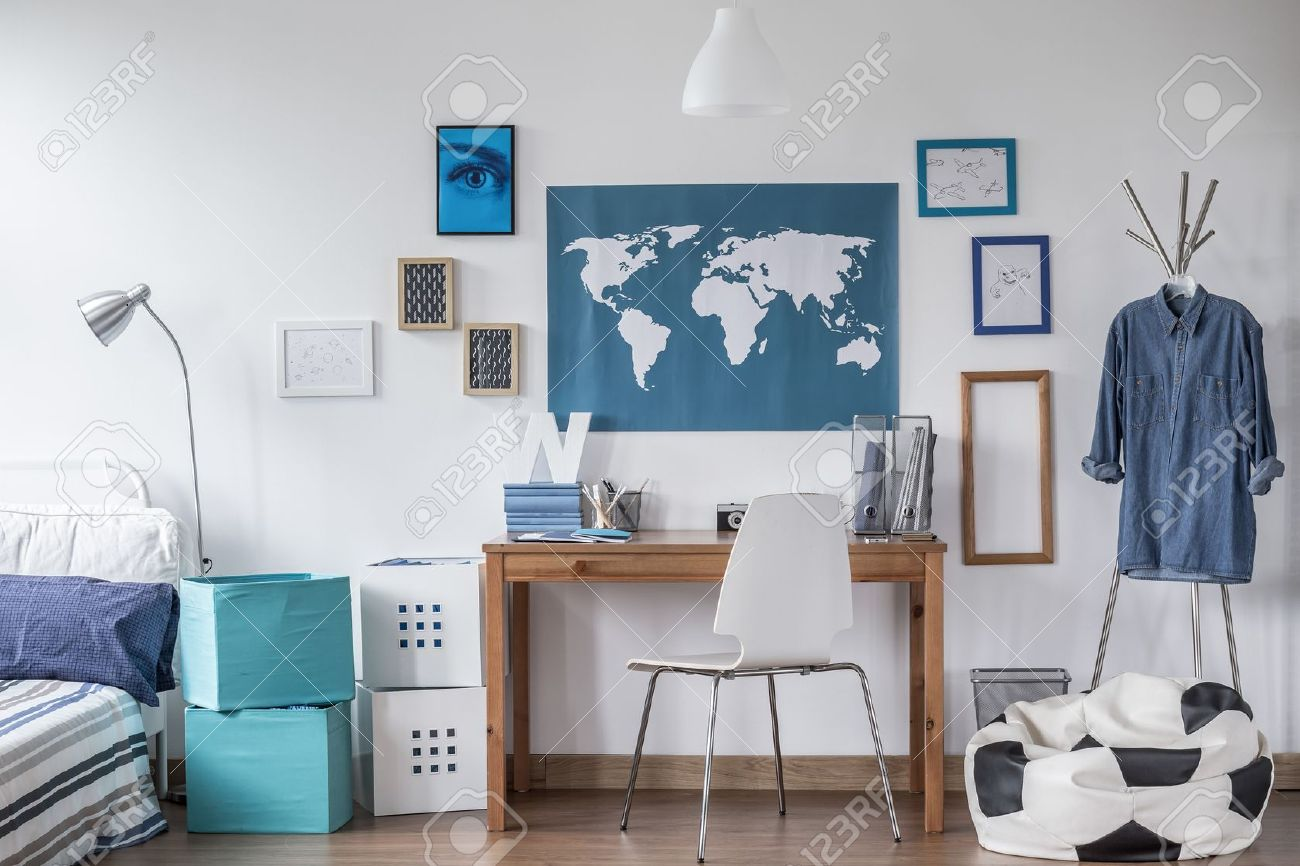 Designed Modern Study Room For Male Student Stock Photo Picture