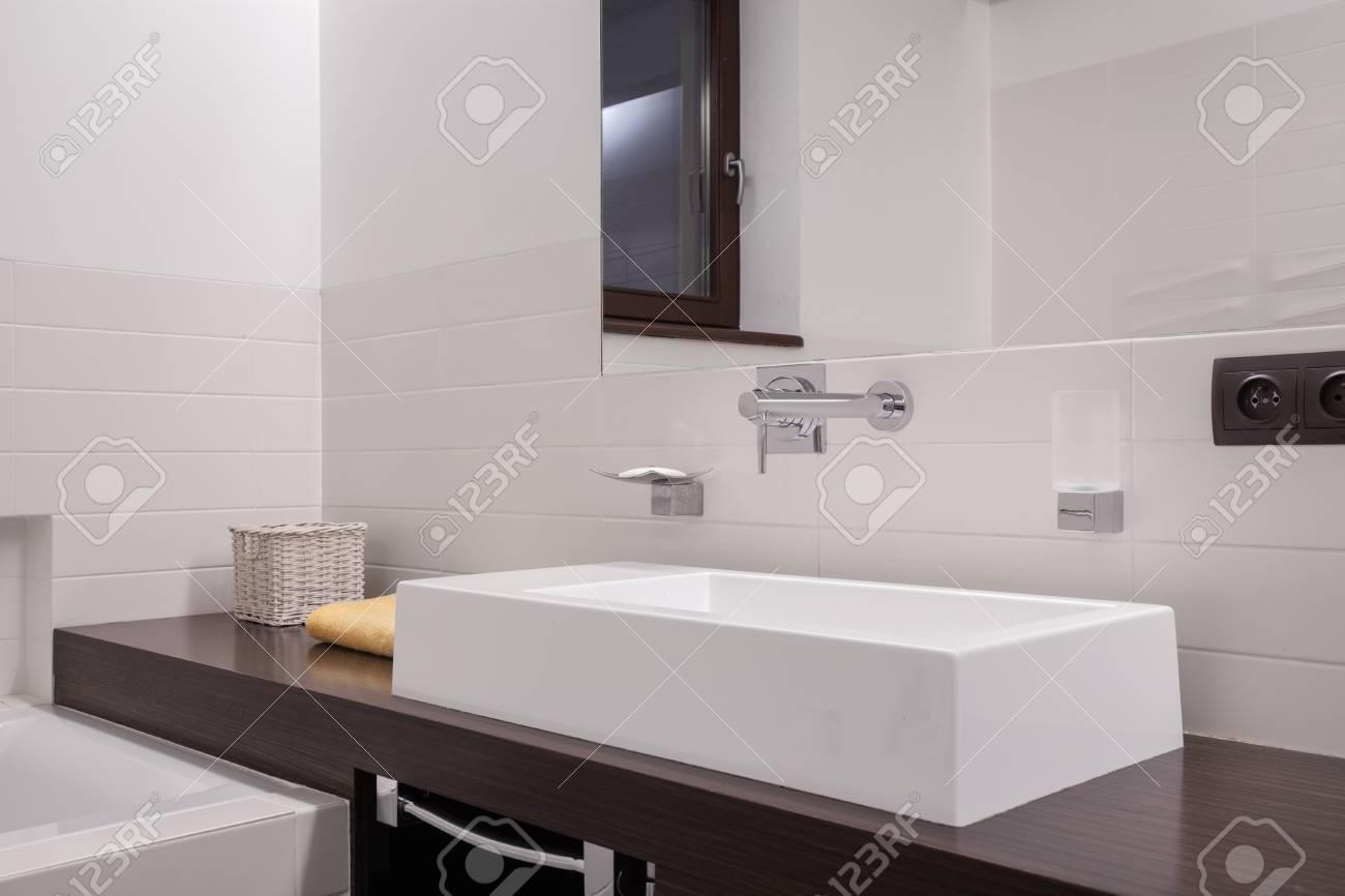 Close-up Of Porcelain Washbasin In Stylish Bathroom Stock Photo ...