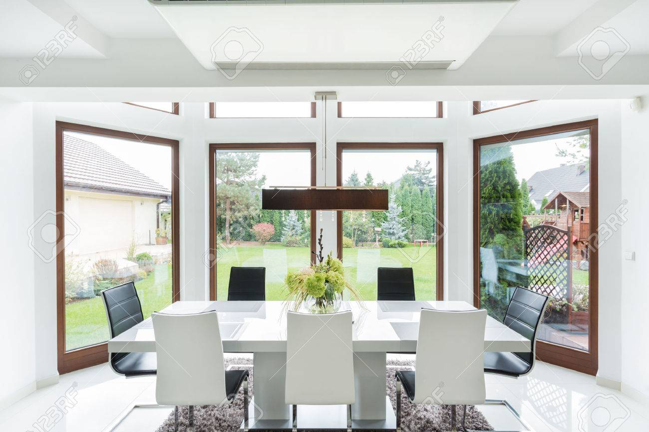 Big Dining Room Spacious Dining Room Interior With Big Window Stock Photo Picture