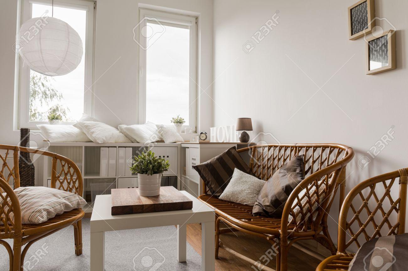 Moderno Y Acogedor Salón Con Muebles De Mimbre Fotos, Retratos ...