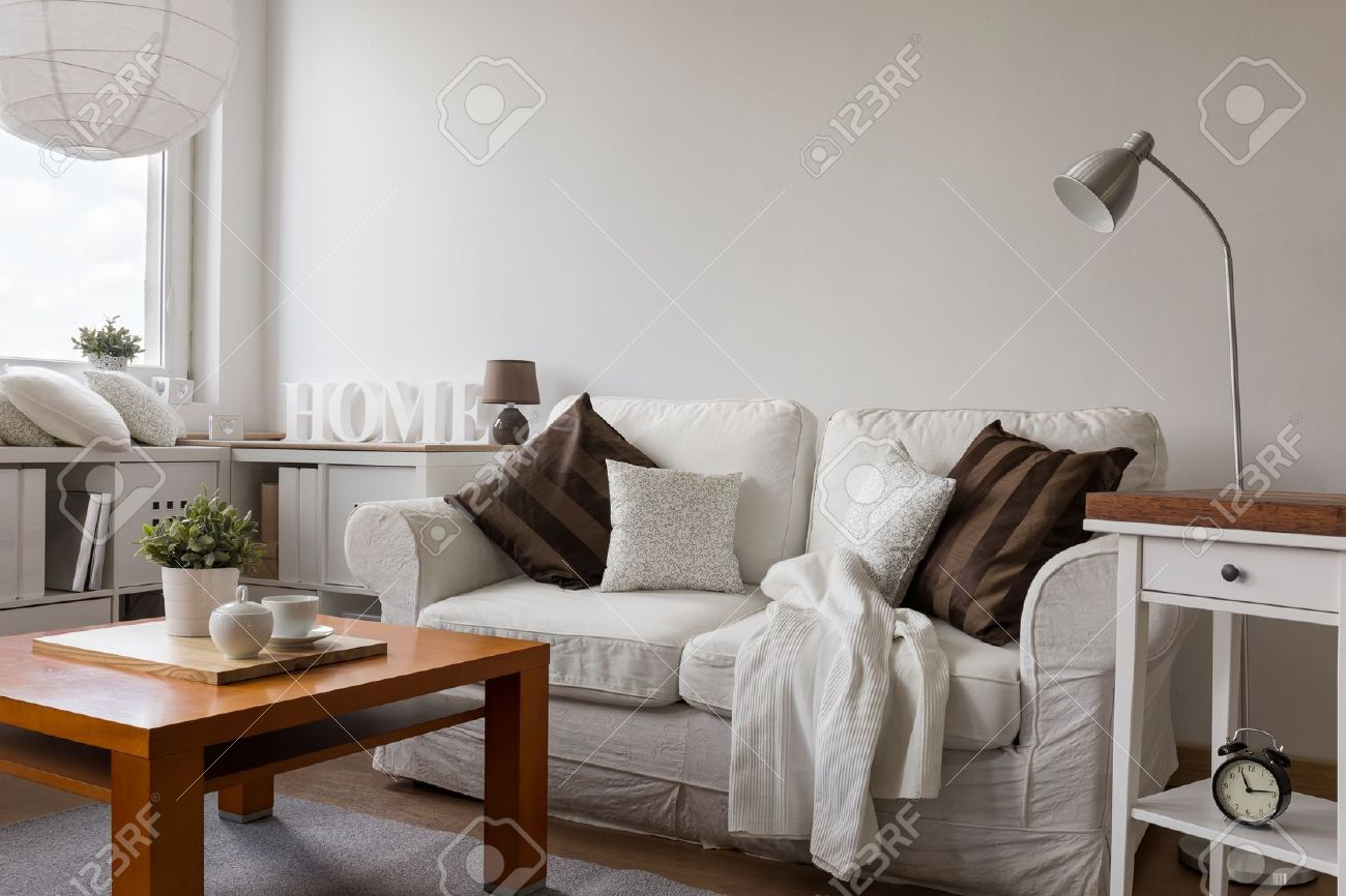 Small Cozy Living Room In White Flat Stock Photo, Picture And ...