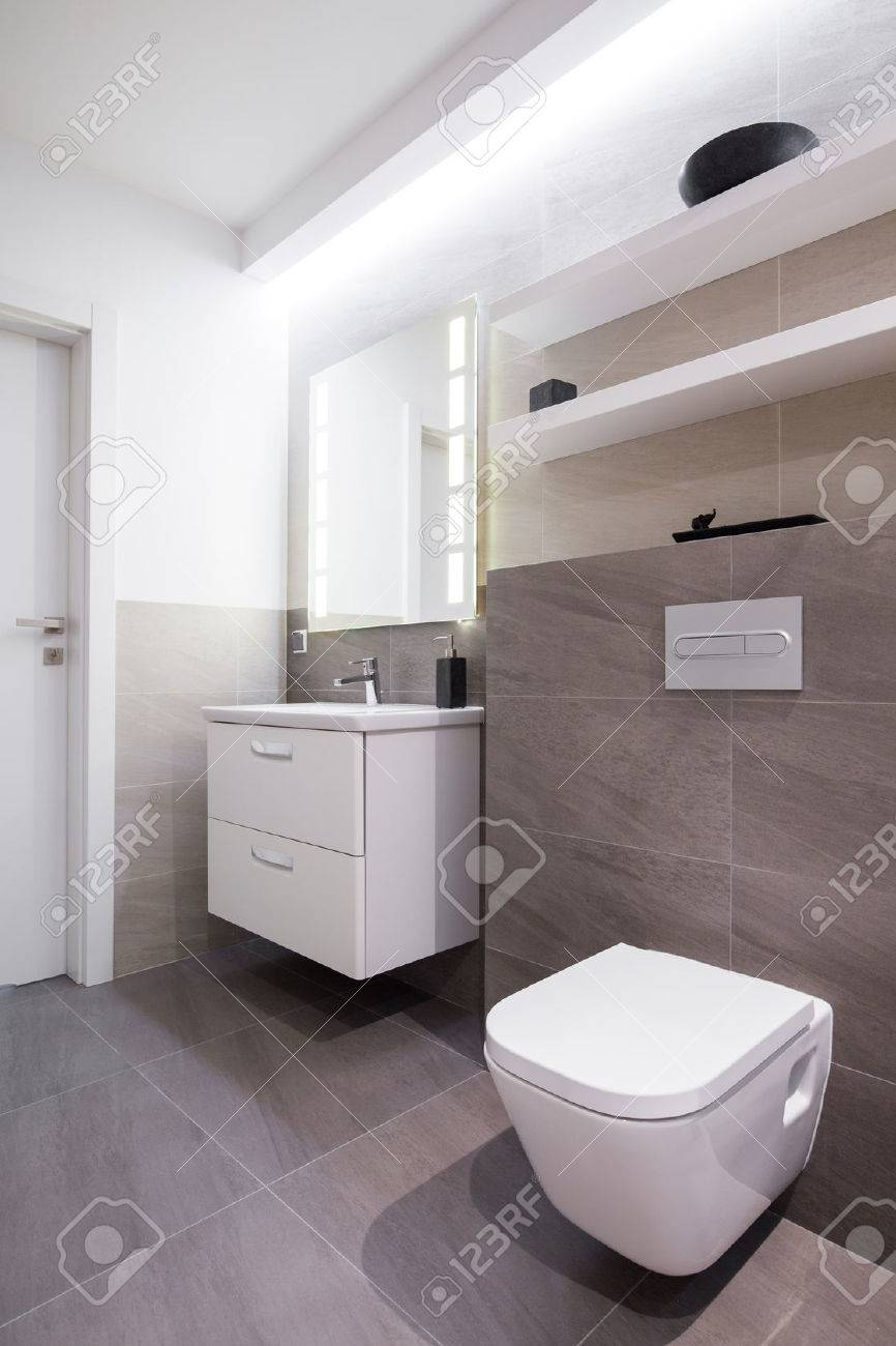 Grey Tiles In Bathroom In Modern House Stock Photo, Picture And ...
