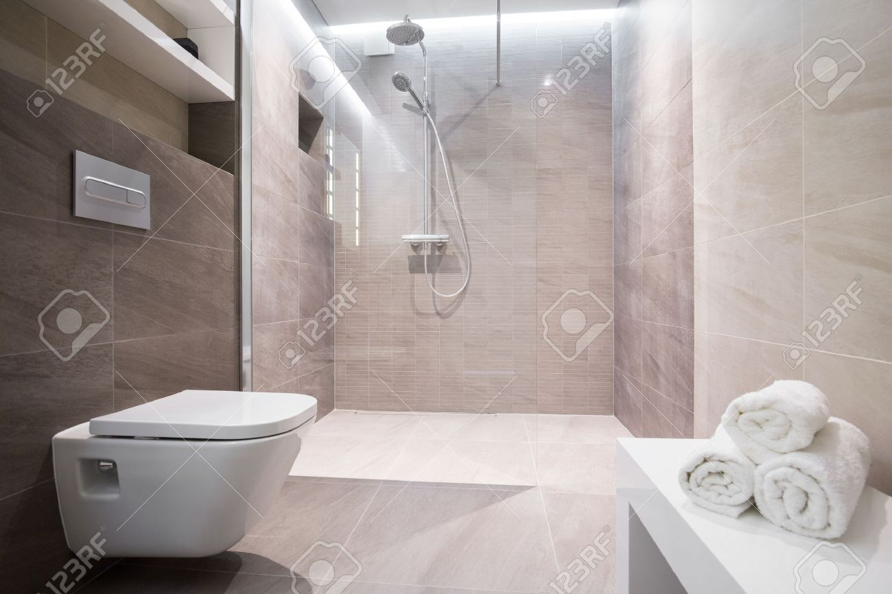 Glass For Bathroom Shower With Glass Door In Exclusive Bathroom Stock Photo Picture