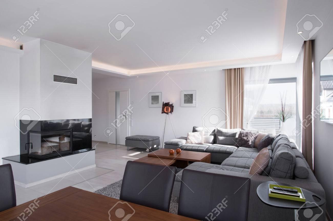 Gemütlich Und Sonnigen Wohnzimmer Mit Kamin Standard Bild   42995276