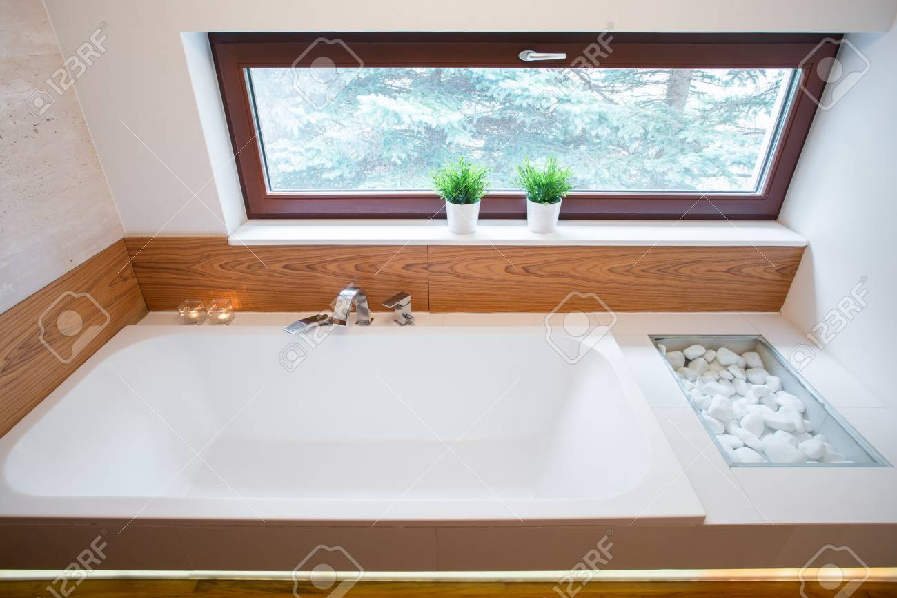 Photo Of Big Square Bathtub With Simple Silver Tap Stock Photo ...