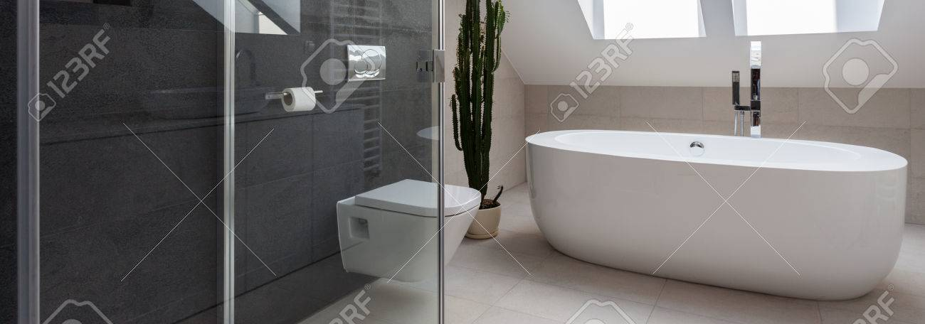 Shower Cubicle And Bathtub In Luxury Bathroom Stock Photo, Picture ...