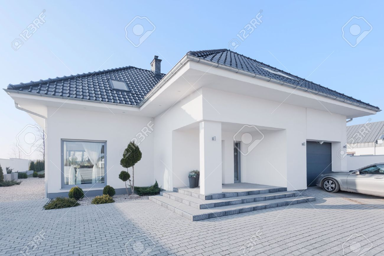 View from outside of enormous modern villa stock photo