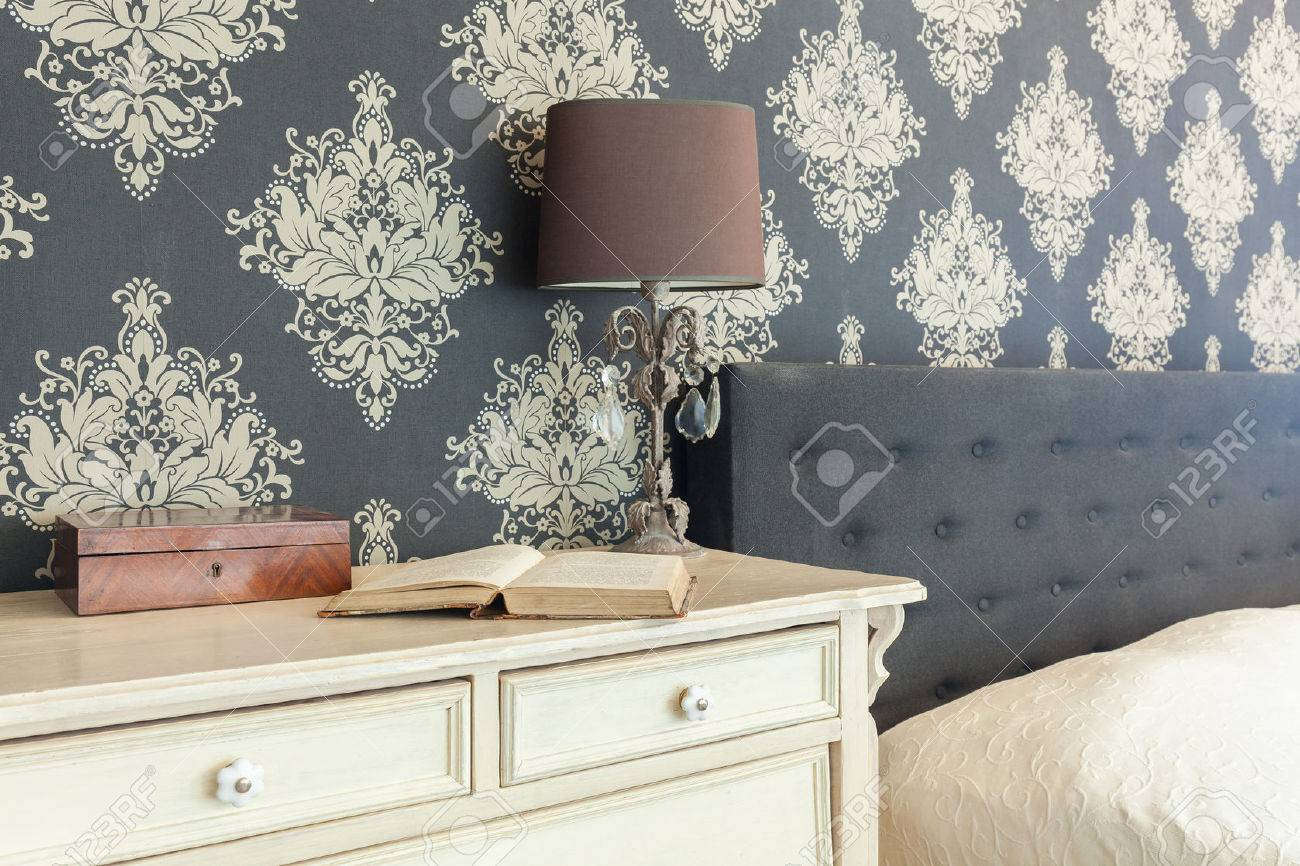 Close Up Of Patterned Wallpaper In Retro Interior