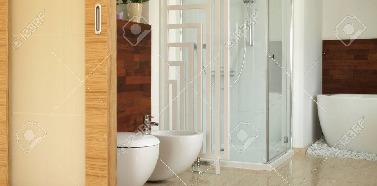 Salle de bain contemporaine avec baignoire, douche et bidet banque ...