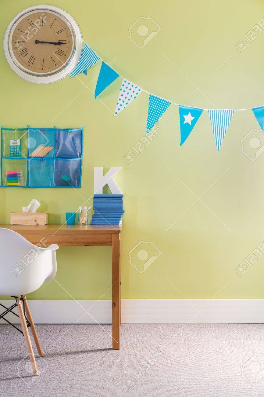 Photo Of Child Study Room With Wall Clock Stock Photo Picture And