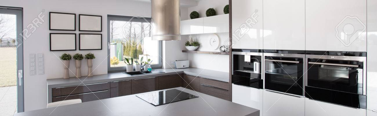 New Technology Kitchen Equipment In Modern House Stock Photo