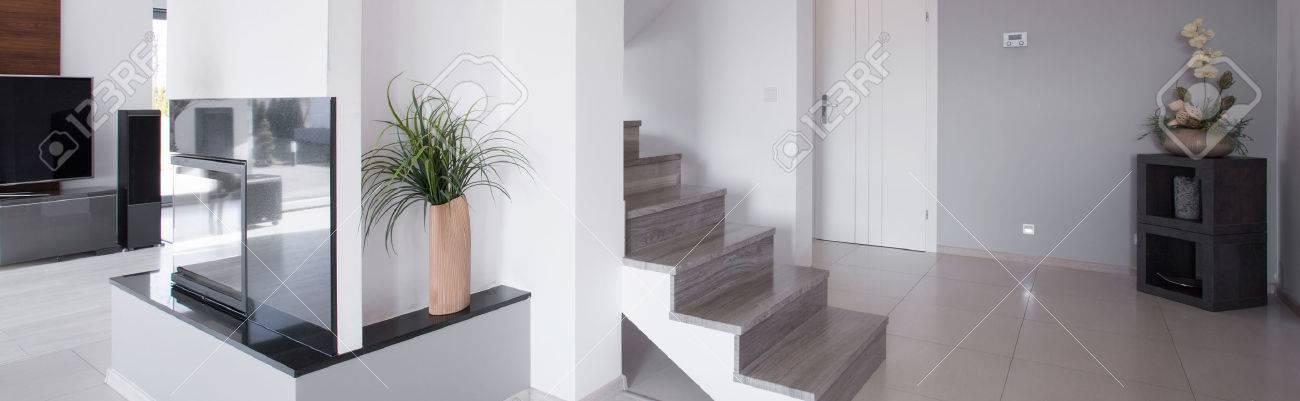 Ensoleillé salle blanche minimaliste maison moderne de plain-pied